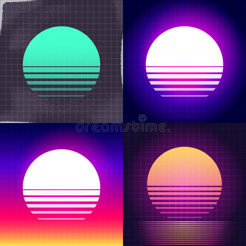 Sunset illustration background set vector illustration