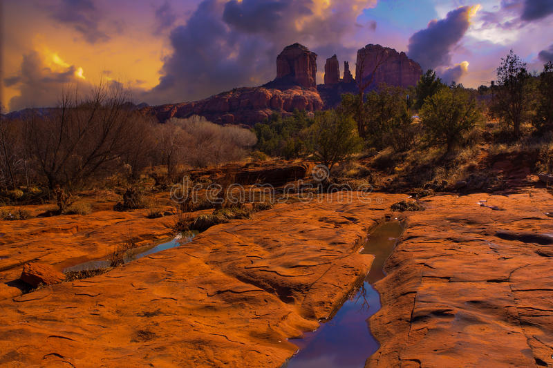 Sunset Image of Cathedral Rock. stock photography