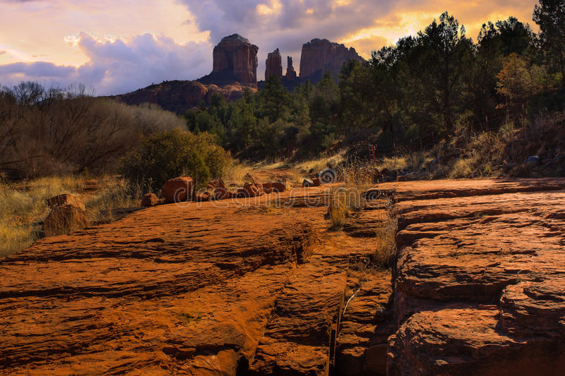 Sunset Image of Cathedral Rock. royalty free stock photos