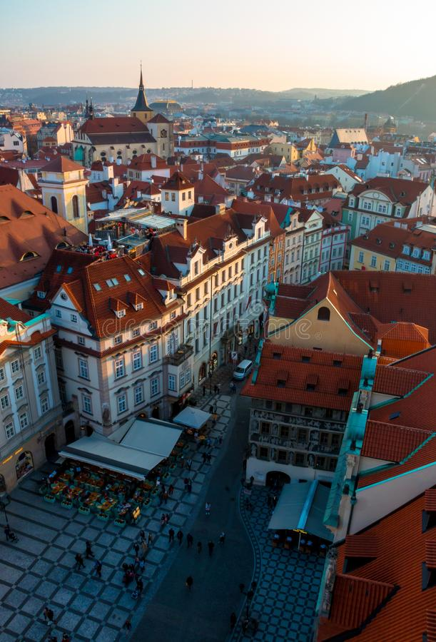 Free Sunset In Prague. Aerial View Royalty Free Stock Photography - 118023037