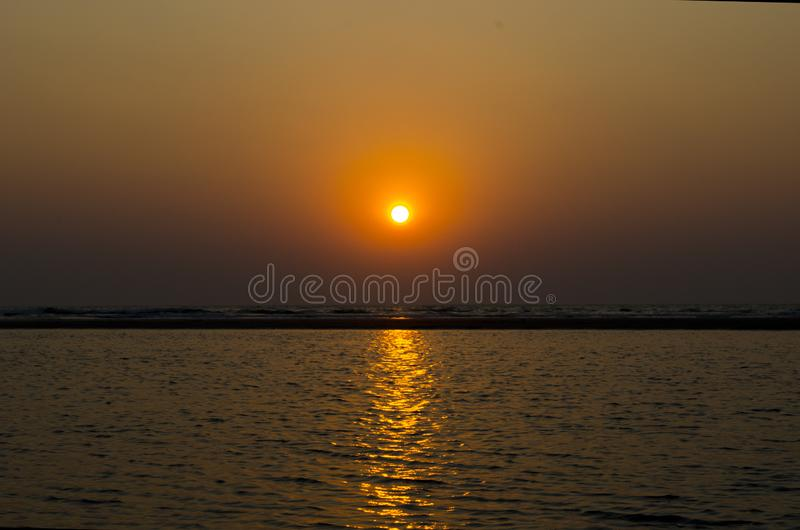 Sunset on the Indian ocean GOA. Sunset on the indian ocean royalty free stock photography