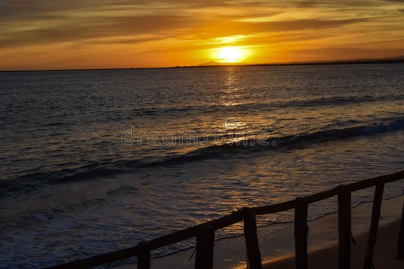 Sunset at Isla Canela, Spain royalty free stock image