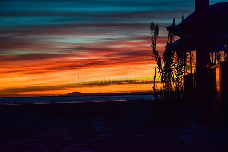 Sunset at Isla Canela, Spain stock photo