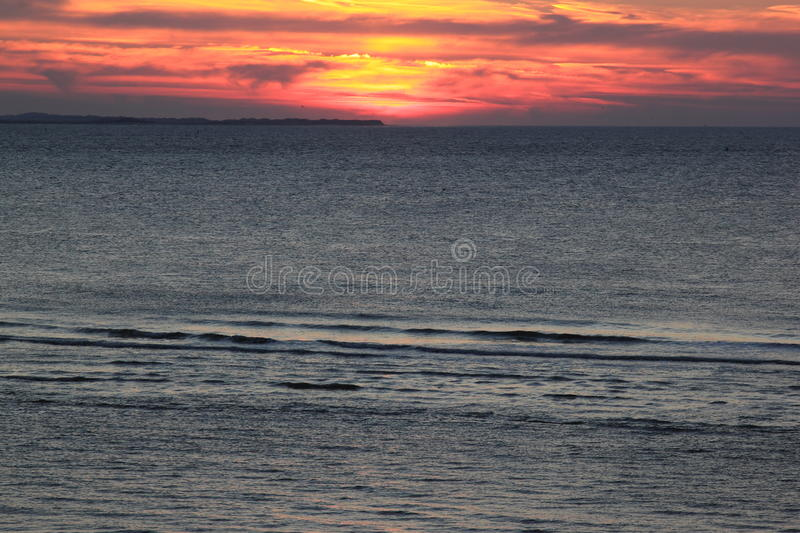 Sunset at the island of Ameland, the Netherlands royalty free stock photography