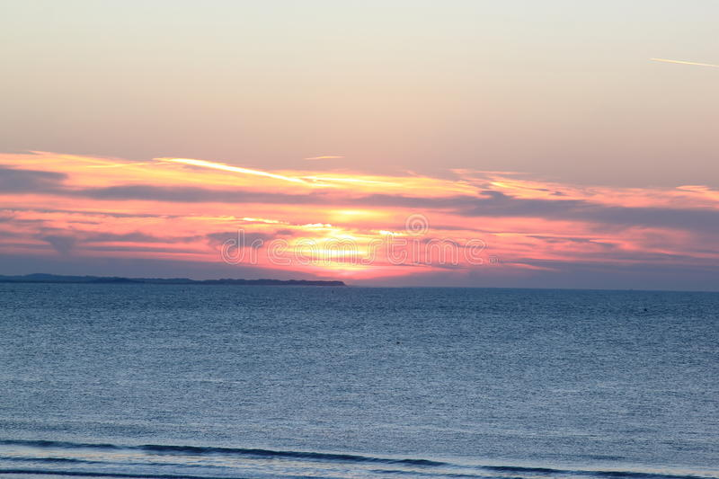Sunset from the island of Ameland, the Netherlands stock image