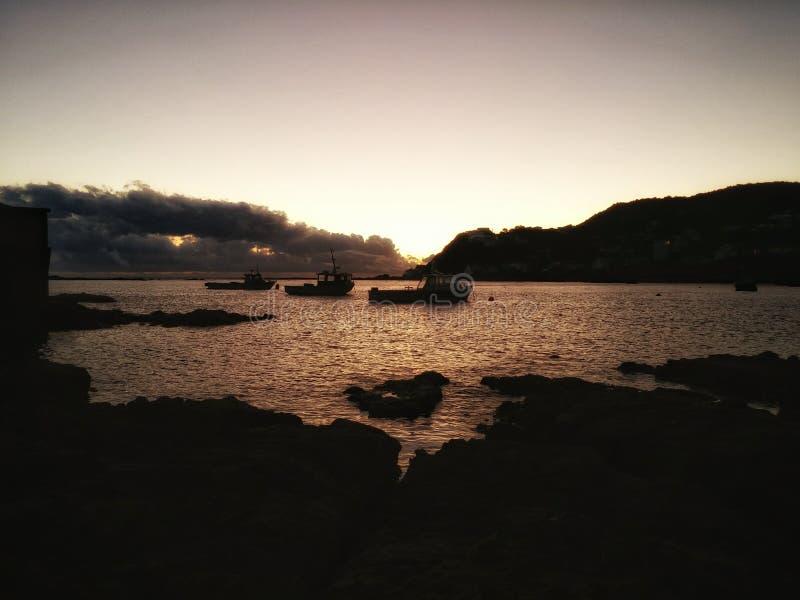 Sunset at Island Bay stock photography