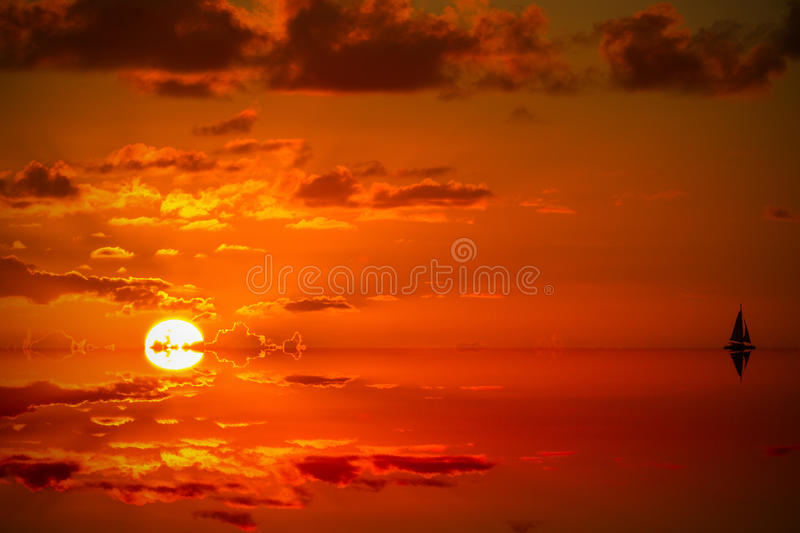 Sunset In The Caribbean Just Before Dark Royalty Free Stock Images