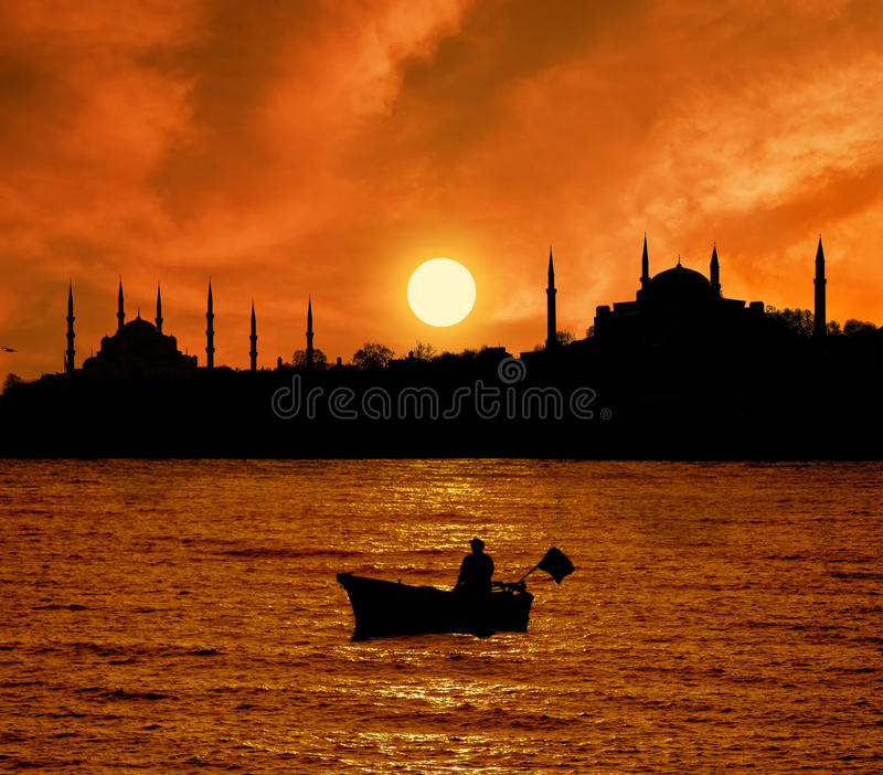 Download Sunset in Istanbul stock image. Image of fisherman, mosque - 12420173