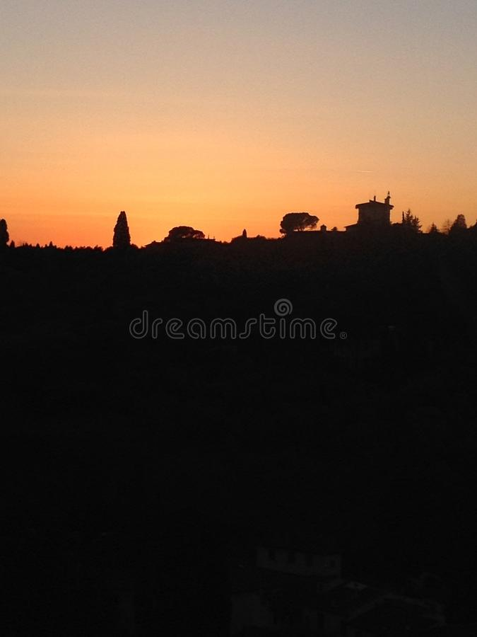 Sunset in Italian country stock photo