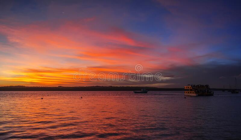 Sunset in the Jacare river, Joao Pessoa, Brazil. Colorful sky during a beautiful afternoon stock images
