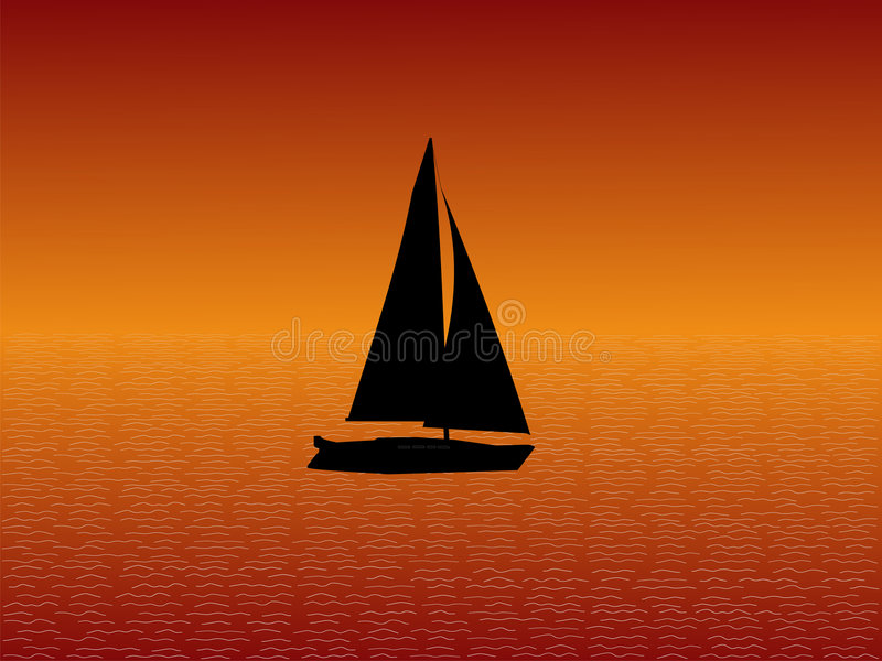 sunset jacht ilustracji