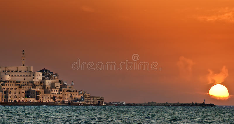 Sunset in Jaffa. The old city Jaffa is one of the famous cities in Israel. It is looking beautiful especially at the time of sunset stock photo