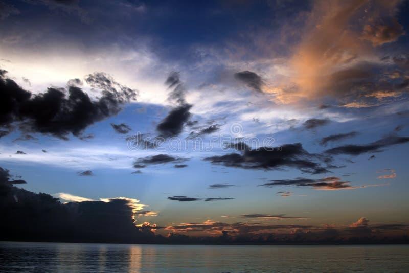 Sunset in Jamaica, Seven mile beach, Caribbean sea stock images