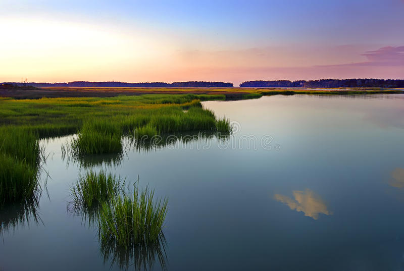 Sunset on the James River. Landscape showing sunset on the James River Batten Bay inlet royalty free stock image