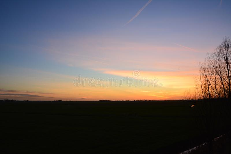 Sunset at Abcoude the Netherlands royalty free stock photos