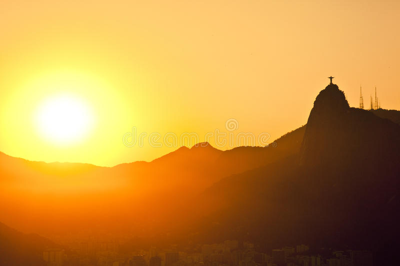Sunset of Jesus and Corcovado. Sunset views of Jesus and Corcovado from Sugar Loaf Mountain Rio De Janeiro Brazil royalty free stock images