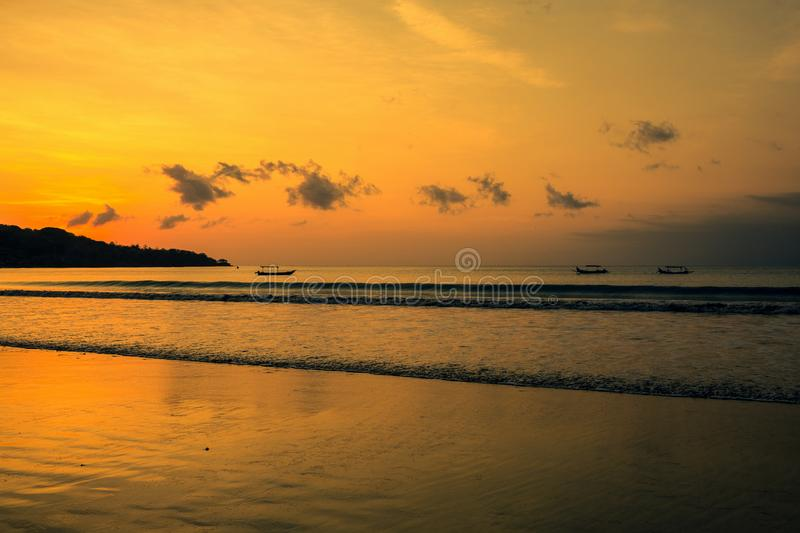 Sunset on the Jimbaran. Beach, Bali, Indonesia stock photography