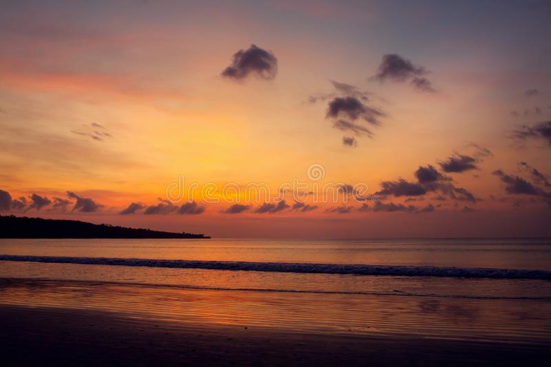 Sunset on the Jimbaran. Beach, Bali, Indonesia stock photo