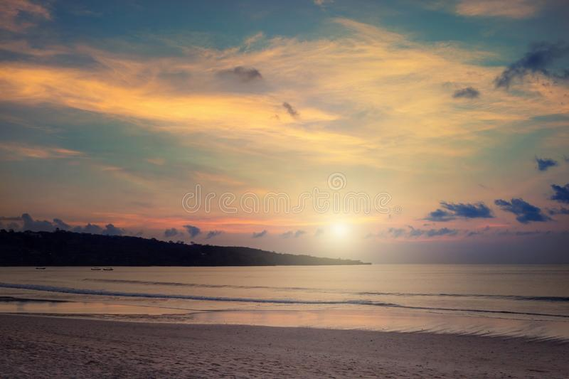 Sunset on the Jimbaran. Beach, Bali, Indonesia royalty free stock photos