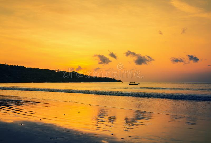 Sunset on the Jimbaran. Beach, Bali, Indonesia royalty free stock photography