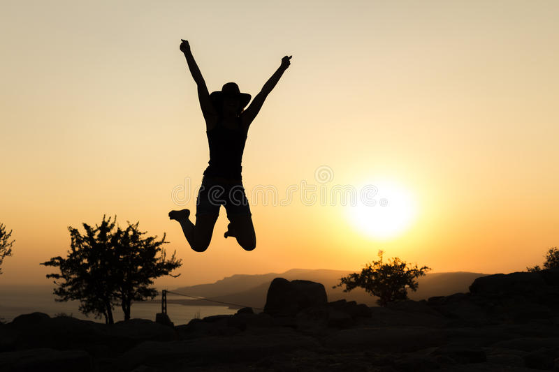 Sunset Jumping royalty free stock photography
