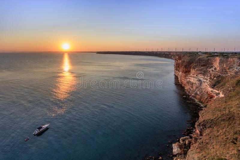 Sunset from Kaliakra Cape at Black Sea Coast, Bulgaria royalty free stock photos