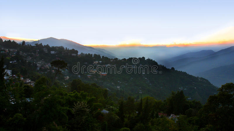 SUNSET AT KALIMPONG, WEST BENGAL, INDIA. Kalimpong is a hill station in West BengaL, India. It is a subdivision of Darjeeling district located at an altitude of royalty free stock photo