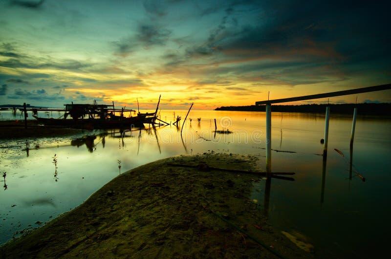 Beautiful Sunset at kampung baru nelayan, tumpat kelantan malaysia. Sunset kamoung kampung baru nelayan tumpat kelantan malaysia bsunset besunset beasunset stock images