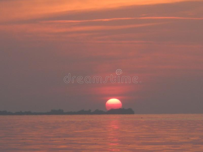 Sunset at karimunjawa island royalty free stock photo