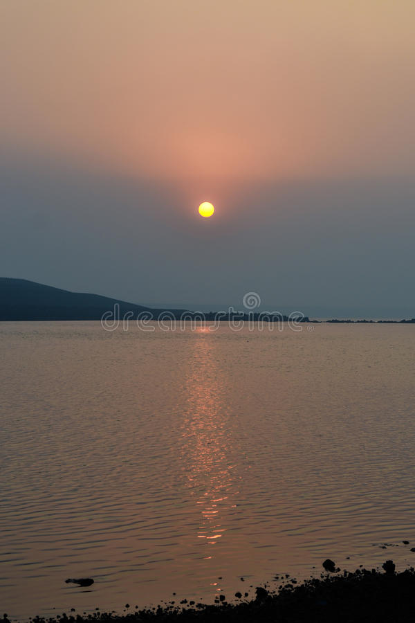 Sunset, Karjat. Sunset at Morbe Dam, Karjat, India stock photo