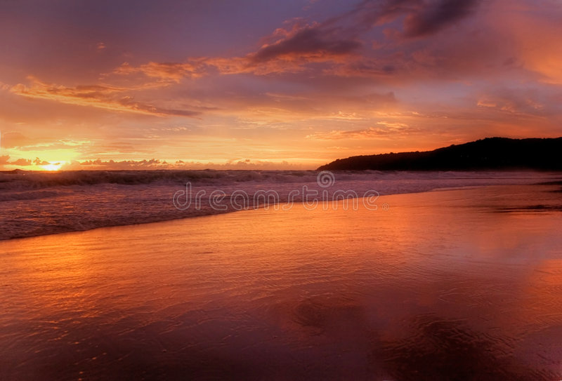 Sunset of Karon-3. Sunset Photografed on Karon beach, Phuket Island, Thailand stock photos