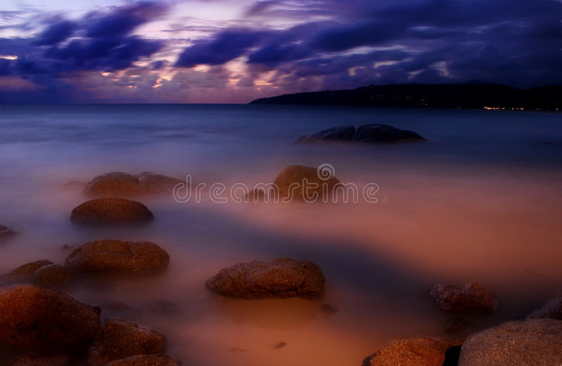 Sunset of Karon-5. Sunset Photografed on Karon beach, Phuket Island, Thailand royalty free stock photography