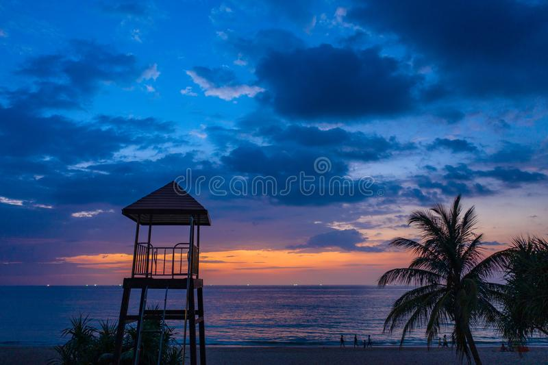 Aerial view sunset at Karon beach. Sunset at Karon beach.Karon beach is a beach is broad and long. Sand and beautiful beach suitable for swimming and used as a stock photography