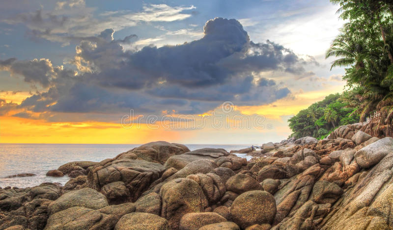 Sunset at Karon beach. Phuket, Thailand royalty free stock photography