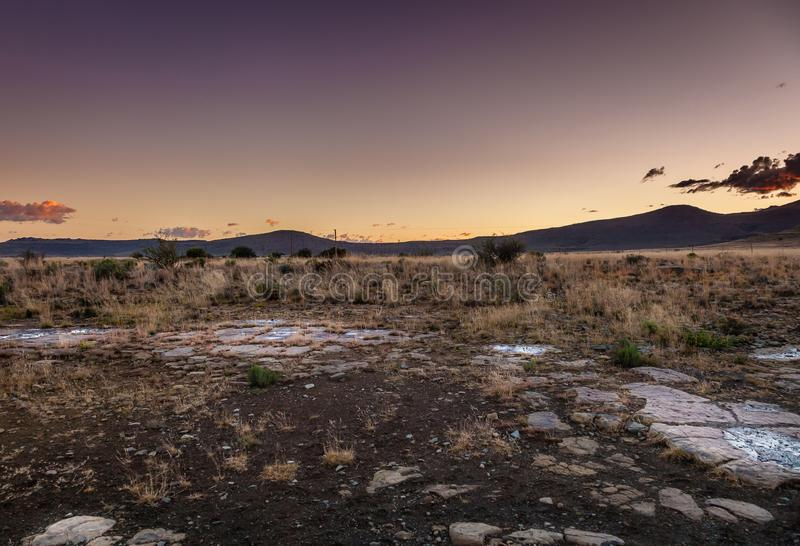 A sunset in the Karoo. Is a magical experience. Clear skies and no people. Nieu-Bethesda, South Africa royalty free stock photography
