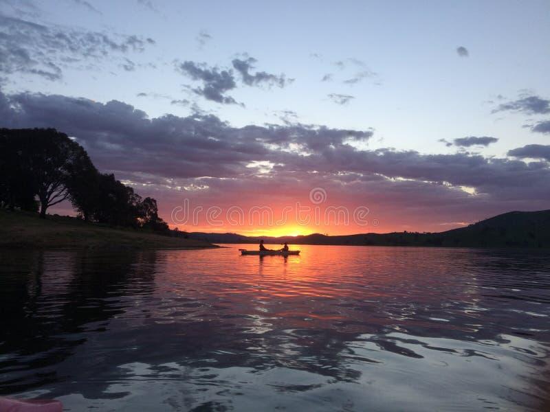 Sunset in kayak, Lake Hume Tallangatta. Kayak, Lake Hume Tallangatta in Victoria royalty free stock photos