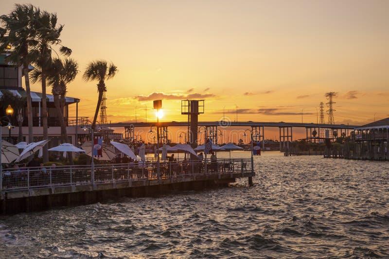 Sunset at the Kemah Boardwalk, Texas. KEMAH, TX, USA - APR 14, 2016: Sunset at the Kemah Boardwalk. Kemah is a famous resort in the Galveston Bay area. Texas royalty free stock image