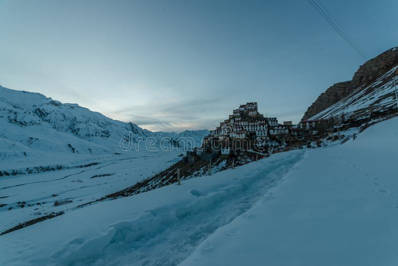 Sunset at Key gompa tibetan monastery in Himalayas. Spiti valley, Himachal Pradesh, India royalty free stock image
