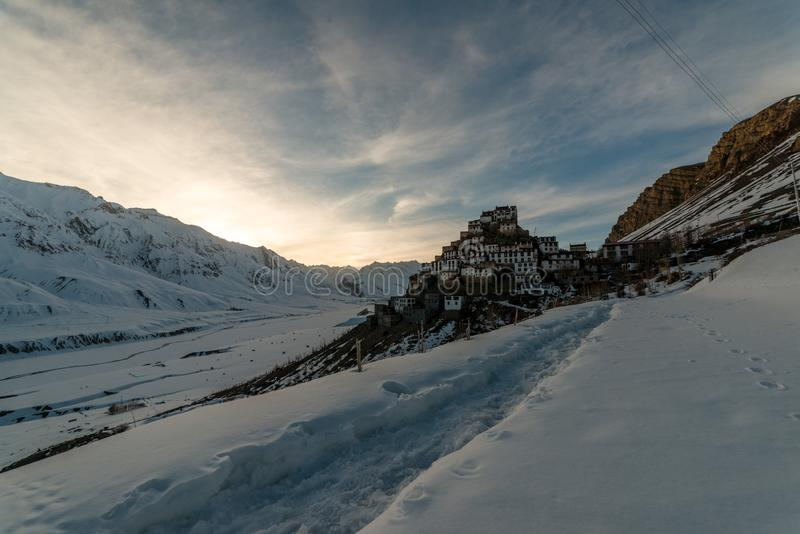 Sunset at Key gompa tibetan monastery in Himalayas. Spiti valley, Himachal Pradesh, India stock image