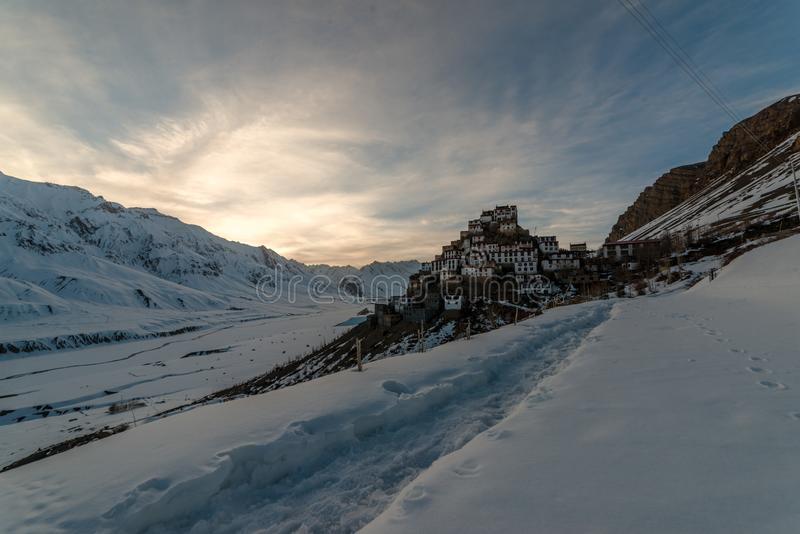 Sunset at Key gompa tibetan monastery in Himalayas. Spiti valley, Himachal Pradesh, India stock images