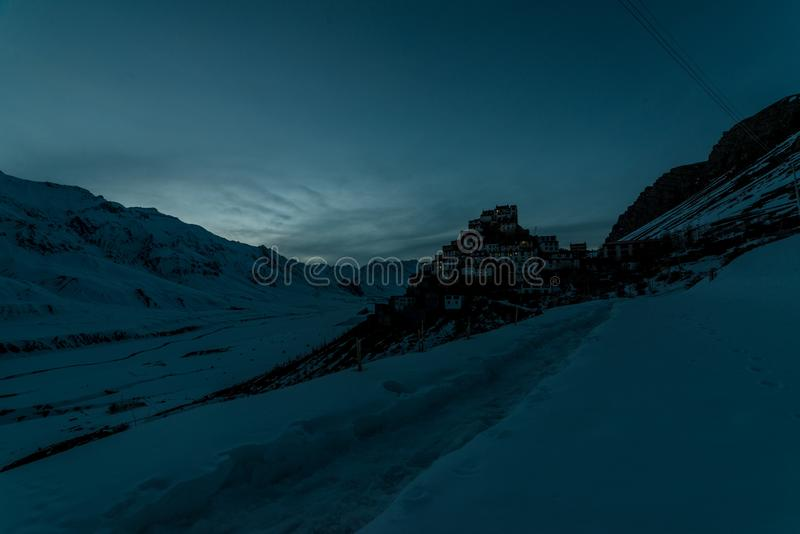 Sunset at Key gompa tibetan monastery in Himalayas. Spiti valley, Himachal Pradesh, India royalty free stock images