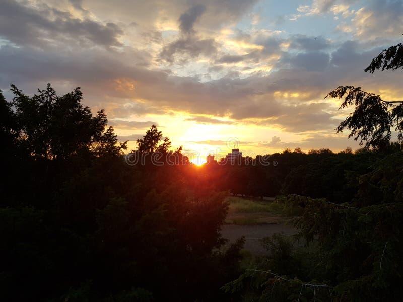 Sunset in Kiev stock photo