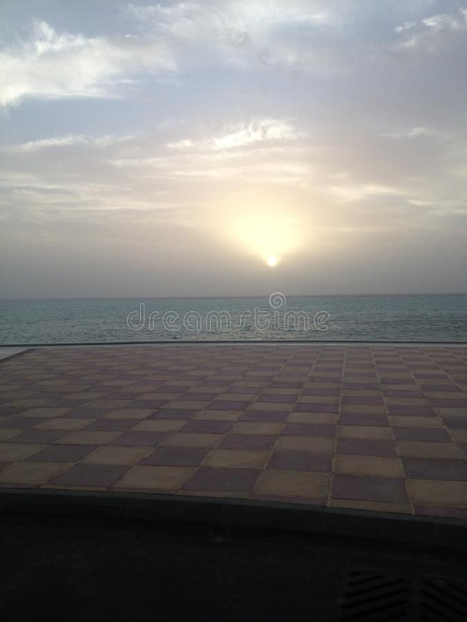 Sunset In King Abdullah Economic city. Around the afternoon. It brings relaxation to the mind stock photo