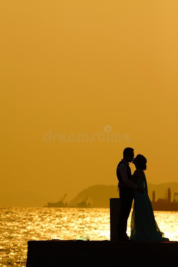 Sunset kisses royalty free stock images