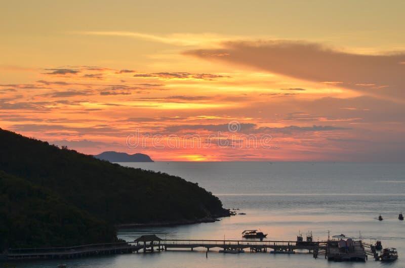 Sunset. At koh-larn island stock image