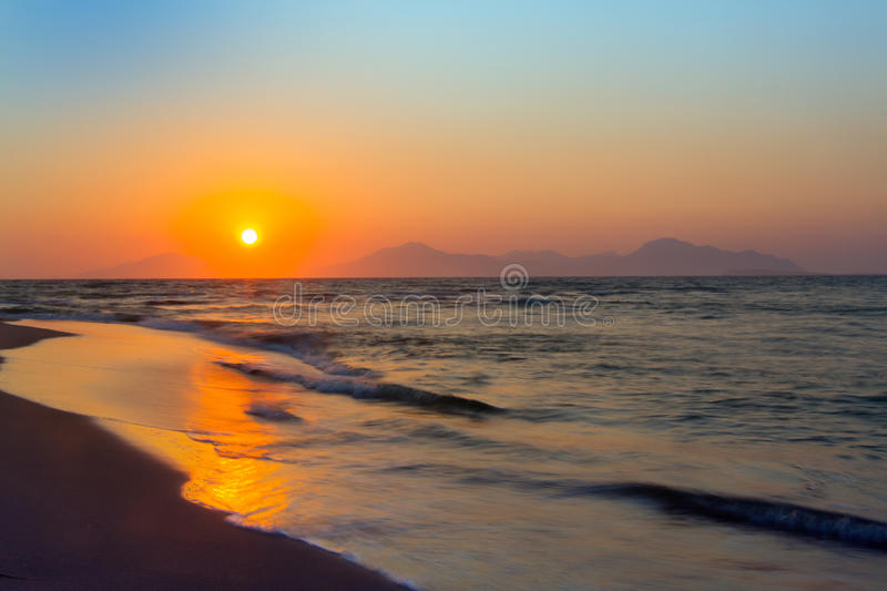 Sunset, Kos, Greece. Sunset on a beach. Kos, Greece stock photo