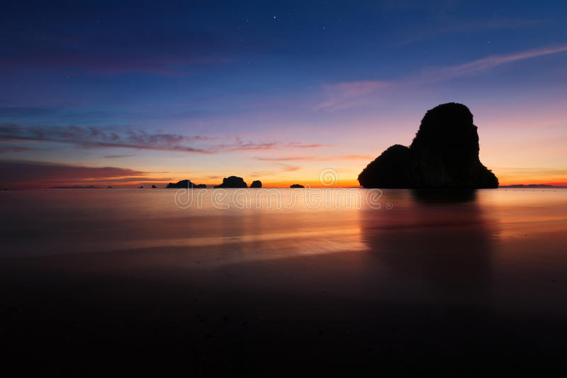 Sunset At Krabi Beach In Thailand Royalty Free Stock Photos