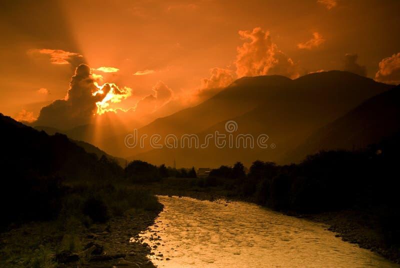 Sunset in Krasnaya Polyana royalty free stock image
