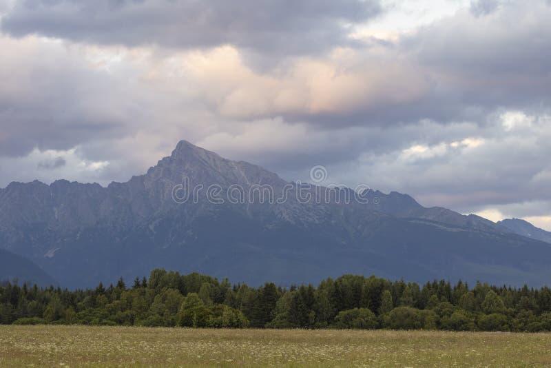 Sunset with Krivan, Hight Tatras, Slowakije stock fotografie
