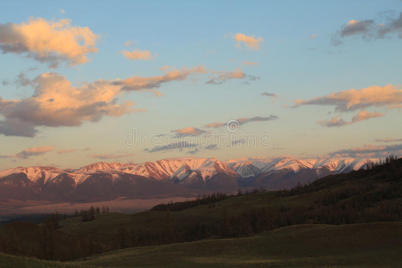 Sunset in the Kurai steppe stock photography